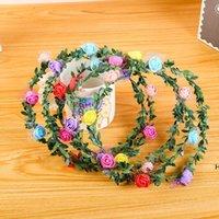 6 pcs flores decorativas grinaldas artificiais para festa de casamento férias coroa coroa floral rosa flor festão de cabelo hwa5599