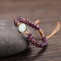Tennis Opal Stone Healing Amethysts Ge-mstone Handmade Friendship Bracelet Boho Crystal Leather Wrap For Women