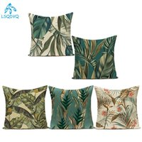 Cushion Decorative Pillow Decorative Throw Pillows Case Tropical Green Plant Palm Leaf Monstera Cotton Linen Sofa Home Cushion Cover For Bed