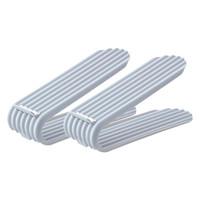 의류 옷장 저장 2pcs 비 슬립 더블 레이어 홈 침실 스택 홀더 쉬운 깨끗한 구두 슬롯 주최자 플라스틱 조정 가능한 높이