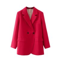 Women's Suits & Blazers Women 2021 Fashion Double Breasted Blazer Coat Vintage Long Sleeve Pockets Female Cotton And Linen Outerwear Chic