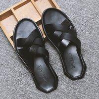 Летний Рим Мужчины Сплечья Повседневная Сандалии Корейский Стиль Молодежь Мода Дышащая Анти скользной Линия Пляжные тапочки Q85N #