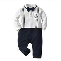 Clothing Sets Baby Boy Romper Clothes Born Straps Bow Tie Gentleman Jumpsuit Bebes Rompers Infant Cotton Suit 3-18M1