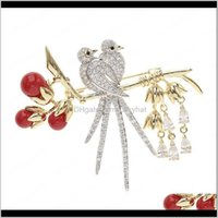 Pins Jewelry Drop Consegna 2021 Perle rosse Crystal Love Bird Biboches Donne Fashion Wedding Cor Gold Plated Placcato Full Diamond Brooch Pins Designer