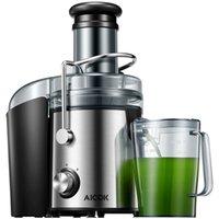 عصارة Aicok 3 بوصة مستخرج عصير الفم على نطاق واسع للخضروات الفاكهة بالكامل، 1000W آلات الفولاذ المقاوم للصدأ مع وظيفة مضادة للتنقيط، التحكم بسرعات مزدوجة، سهلة التنظيف
