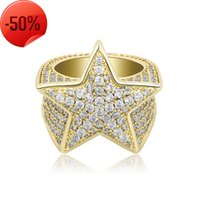 Mens Rings Fashion Exquisite 18K Gold Rhodium Plated Five-point Star Hip Hop Luxury Bling Zircon Cluster