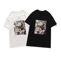 Mannen Dames Stamp Print T-shirt Zwart en Witte T-shirts T-shirts Korte Mouw T-shirts