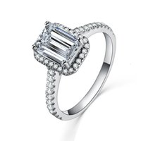 Sterling Silver 1CT NSCD Simulated Diamond Ring Emerald Prongs Engagement Jewelry for Women Luxury Rings Anniversary Gift with Box