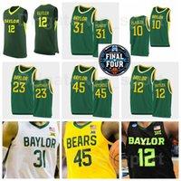 Ncaa final quatro baylor ursos basquete faculdade 24 lacearius dunn jersey 4 quincy acy vinnie johnson larry pássaro david wesley amarelo verde branco