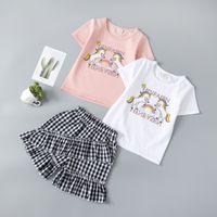 Kids Clothing Set Unicorn T-shiirt+Check Pants Outfits Summer Children Boutique Clothes 2-7T Girls Cotton Short Sleeves 2 PC Suit Fashion