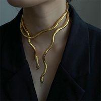 Chokers Golden Silver Color Punk Snake Pendant Necklace Men Women Neck Jewelry Statement Link Chain Wholesale