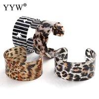 Fashion Unisex Acetate Sheet Opening Leopard Striped European Style Bracelet Couple Wristband Bileklik Charms Bijoux Link, Chain