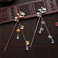 Hair Clips & Barrettes Flower Stick With Butterfly Tassel Chinese Style Hanfu Clothing Chopsticks Styling Accessories For Women EA