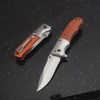 Top Quality DA51 Assisted Flipper Folding Knife 3Cr13Mov Satin Drop Point Blade Wood + Steel Handle EDC Pocket Knives