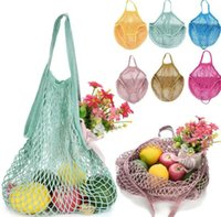 Reusable Shopping Grocery Bag 14 Color Large Size Shopper Tote Mesh Net Woven Cotton Pouch Portable Shoppingbag Home Storage Bags SN4013