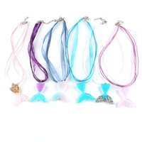 Fashion Ribbon Wax Rope Necklaces for Women Creative Gradient Mermaid Fish Tail Pendant Charm Clavicle Chain Party Wedding Jewelry