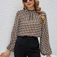 Women's Blouses & Shirts 2021 Frill Neck Blouse Checkerboard Chiffon Lantern Sleeve Loose Ladies Long Plaid Casual Autumn Tops