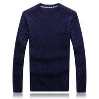 OKKDEY 2021 Sweater de los hombres de invierno Cuello redondo de la versión de lana del cuello redondo delgado y engrosado de los suéteres de la capa de moda de punto