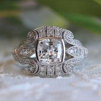Кластерные кольца Свадебные Стерлинговые Серебро 925 Ювелирные Изделия Женщины Алмазное кольцо 14k Золото для Joyeria Fina GDTC