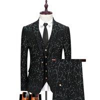 Men's Suits & Blazers (Jacket+Vest+Pants) Luxury High-end Fashion Printing Business Casual Blue Suit 3-piece Groom Wedding Tuxedo