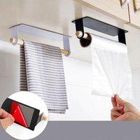 Hooks & Rails Bathroom Wood Towel Hanger Rack Bar Kitchen Cabinet Cling Film Rag Hanging Holder Organizer Toilet Roll Paper Shelf