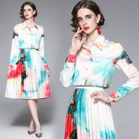 2021 Fashion Gradient 2 piece dress Tie-Dye Printed Twinest Two-Piece Suit Spring And Autumn Long Slevee Shirt Blouse+Mid-Length Pleated Skirt Set
