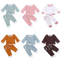 Clothing Sets 2021 Toddler Baby Boys Girls Spring Clothes Ribbed Knitted Long Sleeve T-shirts+Pants 2Pcs Casual Tracksuits Set 0-4Y