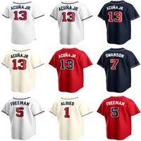 2021 Marcell Ozuna Jersey 5 Freddie Freeman 7 Dansby Swanson 13 Ronald Acuna Jr. 1 Ozzie Albes Mike Soroka Baseball Jerseys
