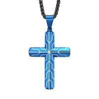 Men's Cross Pendant Necklace Graduation Cool Jewelry Blue Black Stainless Steel (6pieces lot)