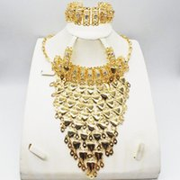 Earrings & Necklace Bridal Gift Fashion High Quality African Jewelry Set Female Bracelet Travel Gold