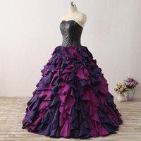 Piste de mode coloré robe de bille robe de soirée taffetas arrière arrière arrière robe à volant fait à la main occasion spéciale black fête corset classique meilleur vente