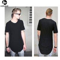 T-shirt estesa Mens Fishtail Multi Piega Curvo Orlo Side Zipper Manica Corta Longline Hip Hop West Tees Tops per maschio