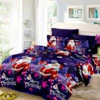 USA Stock Christmas Santa Bedding Set Polyester 3D Printed Duvet Cover + 2pcs Pillowcases + Bed Sheet Set Christmas Bedroom Decorations
