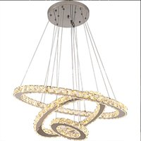Pendant Lamps Creative Stainless Steel Round Crystal Chandelier Modern Minimalist LED Lights Luxury Bedroom Restaurant Household Indoor Lighting Easy to Use