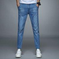 2020 Nueva moda azul pantalones vaqueros para hombre pantalones de longitud de tobillo longitud lápiz pantalones elástica spandex algodón clásico casual delgado de alta calidad pantalón