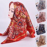 Scarves Fashion Beach Hijab Shawls And Wrap Female 90*90cm Two-tone Cashew Flower Print Square Scarf Luxury Silk Satin Head