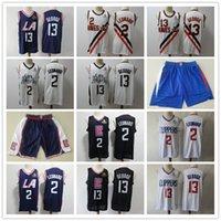 "Mens Los Angeles ""Clippers"" Thopfback Jersey Paul 13 George ""Kawhi 2 Leonard"" Basketball Shorts Basketball Jersey Black Navy"