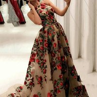 Cascading Ruffles Prom Dresses Printed sleeveless sequined big hem dress with leg slits and small tail party wear