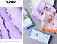 Mulheres Trabalhos 100% algodão Floral Flor Hankie Flor Bordado Handkerchief Colorido Ladies Bolso Toalhas Festa de Partido de Casamento FWE6036
