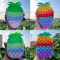 Fidget Toys Pencil Case Crossbody Bags, Fruit Push Bubble Sensory Squishy Stress Reliever Autism Needs Anti-stress Rainbow Toy For Children Pineapple Strawberry