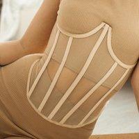 مشد المرأة ضمادة الخصر بوستير انظر من خلال شبكة مثير ملابس داخلية cincher underbust عالية الشارع سليم الجسم المشكل