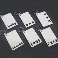 Sublimation Leere Karte DIY Key Ring Keychain 2021 Vatertagsgeschenk des Muttertags Liebe Grad Dad Momer Senior Baby Wörter Fotokarten Wärmedruck G410P8B