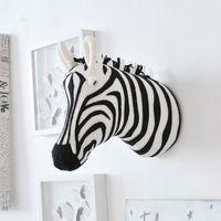 Dekoratif Objeler Figürinler 3D Hayvan Kafası Duvara Dağı Zebra / Fil / Zürafa Dolması Oyuncaklar Çocuk Çocuk Odası Asılı Dekorasyon Doğum Günü