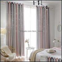 Deco El Supplies Home Gardenmorandi Color Simple Transparent Star Hollow Curtain Ins Dream Princess Style Living Room Bedroom Shading & Drap