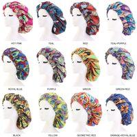 Pattern Print Fabric Ankara Bonnets Sleep Cap Wide Band Printed Turban Elastic Comfortable Large Size Satin Lined Bonnets