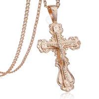 Davieslee 585 Pendentif en or rose pour la mode Femmes Jésus Charm Cross Collier Collier Cadeau Bijoux Cadeaux 2021