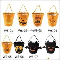 Other Festive Party Supplies Home & Gardenhalloween Bucket Wrap Kids Collection Canvas Bag Halloween Candy Pouch Festival Gift Handbag Decor