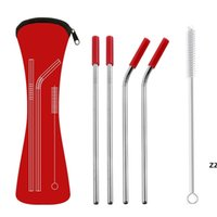 6Pcs set Reusable Stainless Steel Straight Bent Drinking Straws with Silicone Tips for Hot Cold Beverage Drink Bar Tools HWA7336