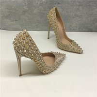 Luxury Dress Shoes 2021 Women's Golden Celebrity Rivet High Heels Net Red 12cm Pointed Thin Heel Shallow Mouth Single Shoe Liuding Sho