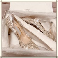 Dress Shoes Champagne Gold Glitter Wedding High Heels Women's Single Pointed Crystal Bride Thin